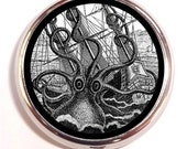 Steampunk Octopus Kraken Pill Box case Pillbox Squid Octopus Attacking Ship Victorian Sea Monster Urban Legend Sea Monster