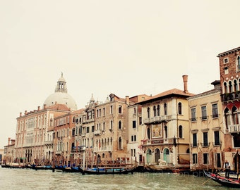 italy photography, venice photograph, europe art, neutral decor, architecture, travel, canals, water, On the Canal I V18