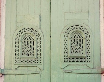 new orleans art, green home decor, french quarter, door photography, new orleans photograph, architecture