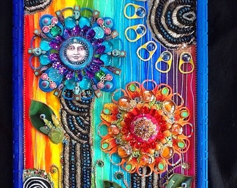 SALE Fantastic Bead Flowers Mixed Media Original by bluemoose