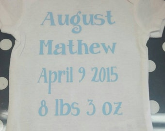 Boutique Personalized Birth Announcement Onsie keepsake