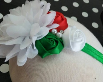 Boutique Christmas, Holiday Flower , Jeweled , Rosette  Baby Girl Headband