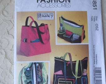 McCall's M5822 Sewing Patterns Detachable Organizer 13-1/2 Inch x 15 Inch Market Bags Shopping Bags Tote Bags Out of Print