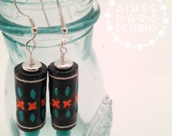 Red, Black, and Turquoise Terra Cotta Clay Earrings