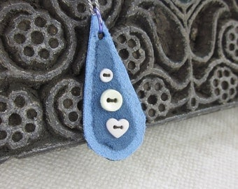 Light Blue Button Teardrop Fabric Pendant Necklace
