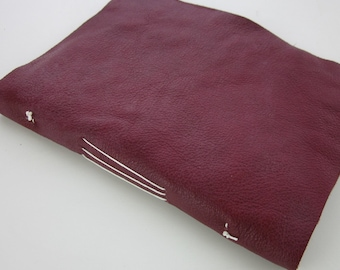 Small Red Handstitched Leather Notebook