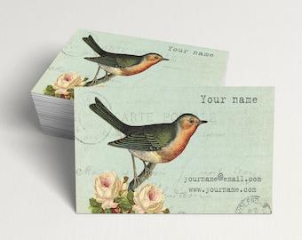 Business Cards  Custom Business Cards  Personalized Business Cards  Business Card Template  Vintage Business Cards  Bird Business Card V18
