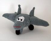 f 22 raptor aircraft ,  Crocheted Amigurumi Military f 22 raptor Airplane , stuffed airplane toy      MADE To ORDER