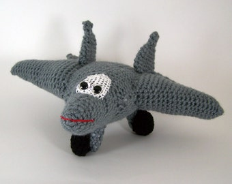 f 22 raptor aircraft ,  Crocheted Amigurumi Military f 22 raptor Airplane , stuffed airplane toy      MADE To ORDER