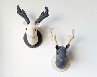 Stag Wall Hangings, 2 Monochromatic Fabric Deer Heads