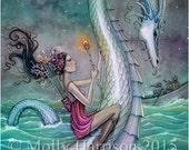 Six of Wands - Sea Serpent - Tarot Art - Fantasy Fairy Artwork - Fine Art Giclee Print by Molly Harrison 9 x 12