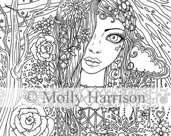 bohemian girl digital stamp printable detailed adult coloring page molly harrison fantasy art digistamp coloring page 85 x 11