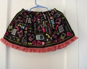 Half Price Cell Phone Text Message Print Bandana Skirt ONE SIZE FITS 12 months to 3T