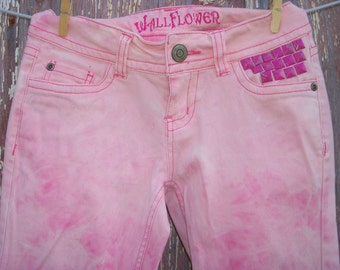 Bleach Tie Dyed Pink Denim Skinny Jeans Junior Size 0 Recycled Upcycled DIY