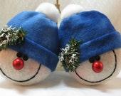 SNOWMAN ORNAMENTS, SNOWMAN Decorations, Stuffed Snowman, Snowheads, Christmas Ornaments, Christmas Decorations, Snowballs, Fleece Snowman