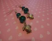 Store Closing Turtle Emerald Green Crystal Beaded Dangle Earrings