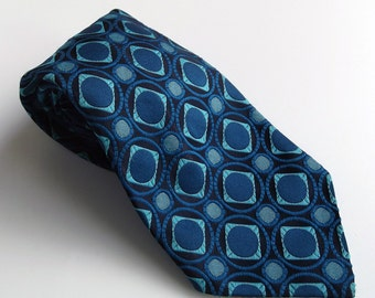 Vintage Mens Necktie - Blue, Aqua and Black Geometric Patterned Tie