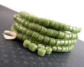 REDUCED PRICE, Light Olive Green Recycled Glass Beads, 5mm, Tiny Green Matte Beads, Green African Beads, Green Heishi Beads TT044