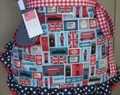 London Aprons - Aprons - London Themed Aprons - Red White Blue Apron - Downing Street Apron - London Inspired Aprons - Annies Attic Aprons