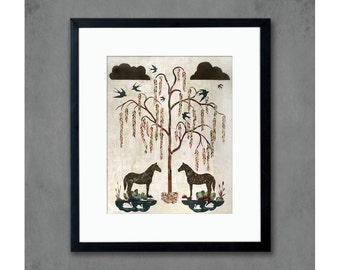 Willow Garden Horse Art Print for Southern Farmhouse
