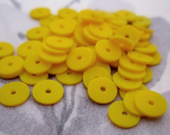 200 pcs. vintage yellow plastic disk saucer matte sequin beads 6x.5mm - r217