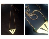 Laser Cut Triangle and Turquoise pendant Necklace - Chevron geometric brass jewelry - Vintage Brass chain