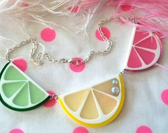 Fruit Slice Acrylic Laser Cut Necklace