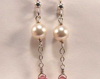 Pearls and pink faceted ruby dangle Earrings Argentium Silver