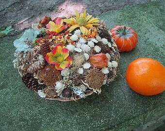 HARVEST sampler BASKET   floral arrangement ROUND centerpiece for Autumn