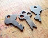 Little Flatties - Tiny Flat Antique Key Charms - Padlock Keys