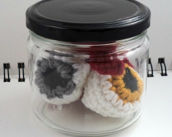 Jar of Crocheted Eyeballs in Metallic Colors (SWG-EY006)