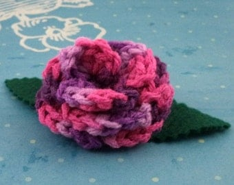 Crocheted Rose Bar Pin - Variegated Lavender, Purple, and Hot Pink (SWG-PS-MPTS03)