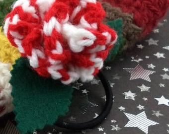 Sarah Jane Smith - Crocheted Rose Ponytail Holder or Bracelet - Red and White (SWG-HP-DWSJ03)