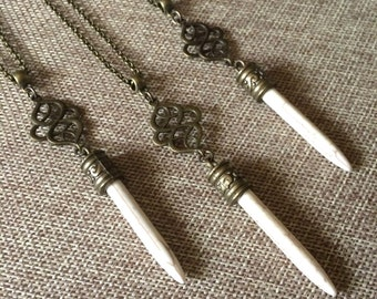 White Stone Spike Necklace - Bronze Knot Detail and White Howlite Spike on Rolo Chain - Bohemian Layering Necklace