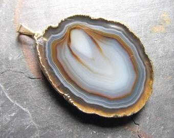 Brown, Tan, and Gray Agate Slice Pendant, 18k gold dipped