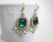Emerald earrings, rhinestone chandelier earrings, may birthstone, dressy earrings, bridal earrings, formal jewelry, emerald jewelry