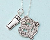PRETZEL and BEER MUG silver pendant - bakers jewelry - handmade in sterling silver by Chocolate and Steel