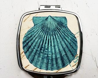 Blue Shell Pocket Mirror