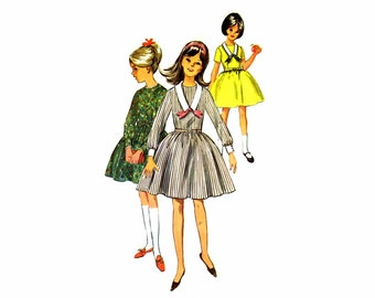 1960s Girls Full Skirt Dress Simplicity 6069 Vintage Sewing Pattern Size 8 Breast 26 UNCUT