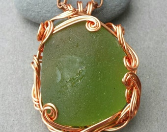 Atlantis Found Apple Green Sea Glass and Silver Necklace