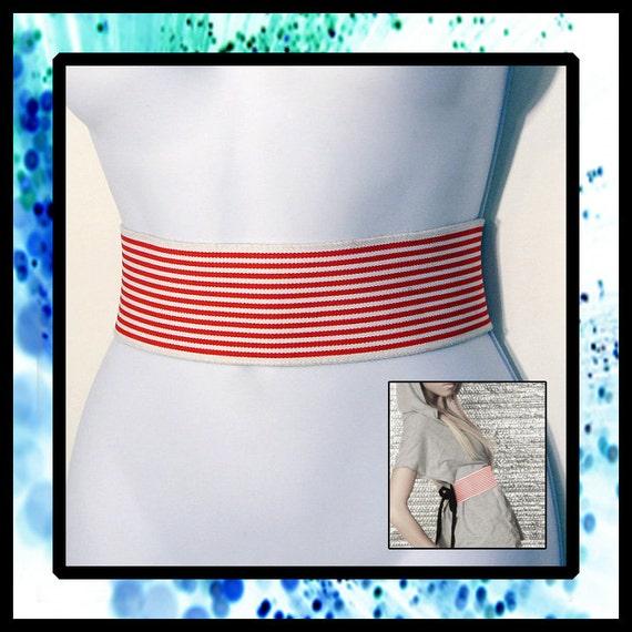 RED/WHITE Holiday Striped Elastic Wrap Belt - Custom Sized