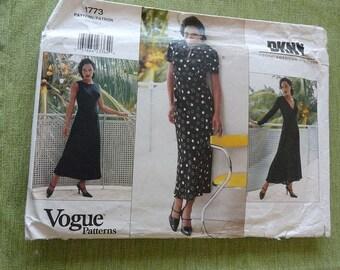 Vintage 90s Vogue 1773 DKNY Dress Sewing Pattern size 8 10 12