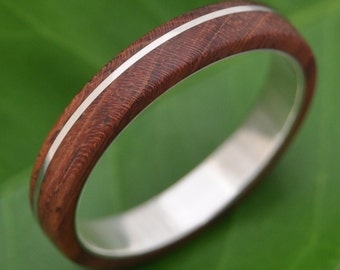 Size 13.25, 4mm Wood Ring READY TO SHIP Asi Nacascolo Wood Ring - sustainable wedding ring in rosewood