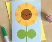 Happy Sunflower Card - Kawaii Greetings Card