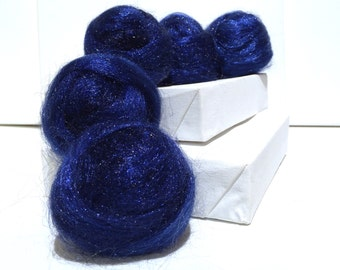 Navy Blue Firestar, Needle Wet Nuno Felting, Blending Spinning Fiber, roving, .5 oz, deep dark blue, similar to Icicle Top, Saori weaving