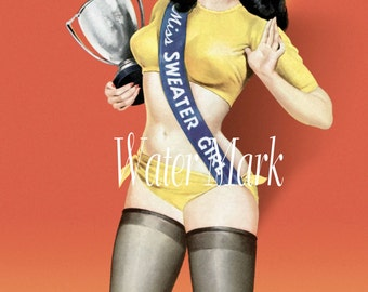 Art*Canvas Paper Print*Pin Up Sweater girl*8x10 inches*Free shipping in the USA