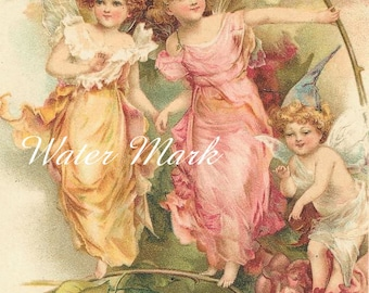 DOWNLOAD INSTANT*Flower Fairy Gathering*Fairy gather three*Sewing*Cards*Greeting cards*Tags*Father's Day Cards*Frame*Collage*Decoupage