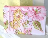 Floral Zipper Pouch from Vintage Fabric, Cosmetic Bag, Pencil Case in Pink, Green, Yellow and White