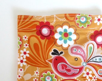 Reusable Snack Bag, Sandwich Bag with Pink and Orange Birds for a Zero Waste Lunch, gift for her under 10 dollars