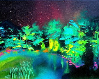Landscape painting -  Abstract palette knife oil on canvas impressionism by Aja Night Lagoon 12x16 inches